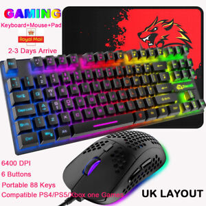 UK Layout Gaming Keyboard Mouse Rainbow Backlit Type-C for Pc Laptop PS4 Xbox