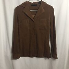Express Womens Long Sleeve Button Up Brown Blouse Size Small