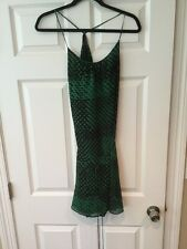Theory Black & Green Polka Dot Silk Dress, Size Small