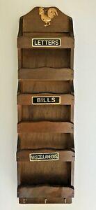 Vintage Rooster Wooden Letter/Bills/Misc/Key Holder Mail Organizer Wall Mount
