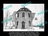 OLD POSTCARD SIZE PHOTO OF SCOTTSBURG INDIANA THE COFFEE POT STATION c1940