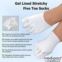 Gel Lined Toe Socks - Sore Foot Blister Corn Gout Arthritis Bunion Pain Seperate