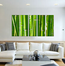 Bamboo forest print on canvas, forest wall art bamboo forest painting 5 panel