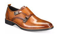 $110 size 9.5 Alfani Heath Brown Leather Monk Strap Loafers Mens Dress Shoes