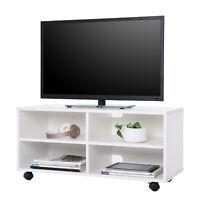 TV Schrank Lowboard Fernsehtisch Möbel mit 4 Fächern und Rollen Weiß LTC02WT