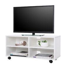 TV Schrank Fernsehtisch Lowboard Möbel mit 4 Fächern und Rollen Weiß LTC02WT