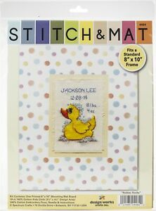 """Design Works Stitch & Mat Counted Cross Stitch Kit 3""""X4.5""""-Rubber Ducky (18"""