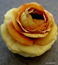 "3 1/2"" Variegated  Orange-Yellow Ranunculus Silk Flower Hair Clip, Wedding, Prom"
