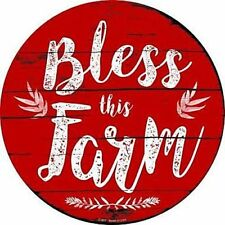 """Bless this Farm 12"""" Round Metal Sign Novelty Retro Home Wall Decor"""