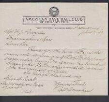 Pat Donahue Hand Written 1949 Letter Athletics letterhead discovered Bob Feller