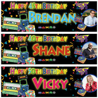 2 Personalised Birthday Banner Photo 80's theme Adults Party Poster Decoration