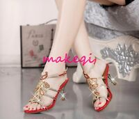 2017 Elegant Womens Rhinestone Ankle Strap Summer Sandals Shoes Party Date Court