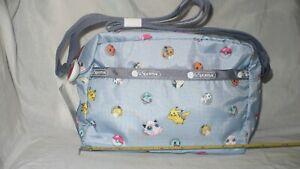 NWT Lesportsac Pokemon Dot Daniella Crossbody Purse Gray 2434 G728 Light Blue