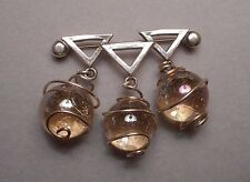 Artisan Modernist Signed Brooch - Sterling w/ Wire Wrapped Iridescent Glass Orbs