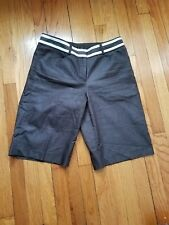 Willi Smith Bermuda Shorts Women's Brown Striped Waist Casual Flat Front size 8