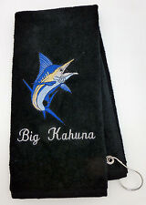 Personalized Embroidered Golf/Bowling Towel  Blue Marlin