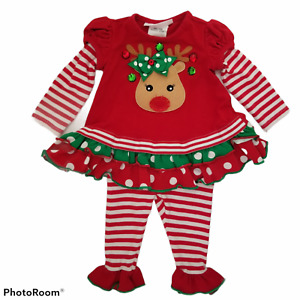 Bonnie Baby 3-6 Months Girls Christmas Outfit Leggings and Top