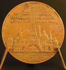 Médaille jeton Ascension de la Tour Eiffel 1889 par Trotin Medal 铜牌 Paris