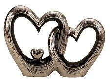 escultura moderna Corazón Amor Hecho De Cerámica Negro / PLATA altura 23cm Ancho