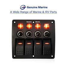4 Gang Rocker Switch Panel 12V/24V Waterproof Red LED For Car Marine Boat