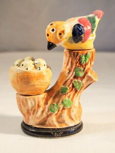 Occupied Japan Mother bird and chicks in nest Salt & Pepper stand and shakers