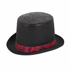 Mens Aged Look Black Top Hat Adults with Red Band Steam Punk Ladies Fancy Dress
