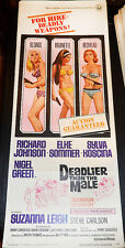 DEADLIER THEN THE MALE! '67 E.SOMMER CULT CLASSIC ORIGINAL INSERT FILM POSTER!