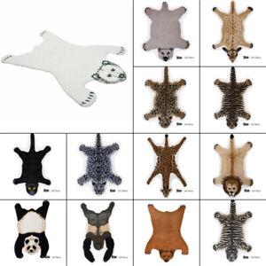 Tiger Deer Lion Faux Fur Rug Animal Print Hide Skin Area Rug Floor Mat Carpet