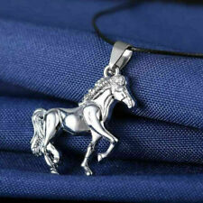 Stainless Steel Radiator silver Horse Pendant PU Leather Necklace Chain Cor R4O6