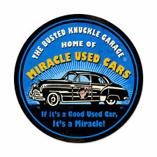 Busted Knuckle Garage Home Of Miracle Used Cars Retro Sign Blechschild Schild