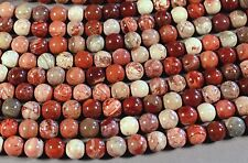 "MEXICAN RED PORCELAIN JASPER 10MM ROUND BEADS 16"" STRAND"