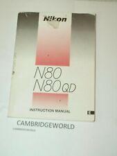 Nikon N80 N80Qd Slr Camera Instruction Manual Guide Book Original Genuine