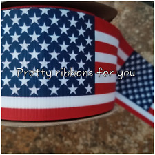 "USA FLAG 3"" wide grosgrain ribbon the listing is for 2 yards"