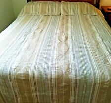 "Quilt Westone King 2 Shams Stripes Beige Tan Gray Pale Green Etc 88 x 110"""