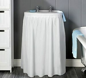 SINK SKIRT WHITE VINYL BATHROOM SINK CURTAIN