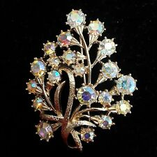 Coro Signed Brooch Pin Gold Tone Floral Flower Branch 2.5 in