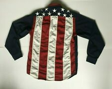 Tommy Hilfiger Button Up Mens L Shirt Stars Stripes Blue Red Embroidered