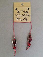 HANDMADE BEADED BOOKMARK ~ RED GLASS HEARTS