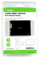 AV10117 BELKIN Wireless HDMI 4-In/1-Out Switch,Manual & Automatic switch modes