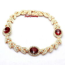 Ruby Red Rose Gold Filled Wedding Wheat Bracelet Made With Swarovski Crystal T40
