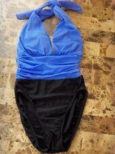 ladies 1 PIECE MAINSTREAM SWIMSUIT blue black SIZE 8 medium euc! HALTER modern