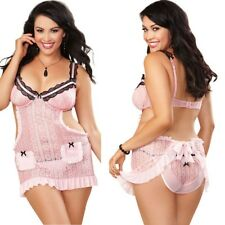 Plus Size Apron Babydoll Satin Underwire Cups panty Lingerie 1X/2X 3X/4X D9361