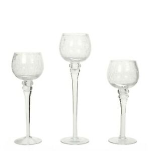 """Hosley Set of 3 Crackle clear Glass Tealight Holders 9"""" 10"""" 12"""" High. Id..."""