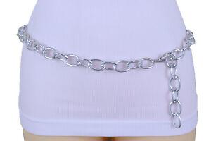 Women Fashion Hip High Waist Sexy Belt Silver Metal Chain Oval Links Size XS S M