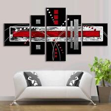 Framed Abstract Wall Art Red Black Modern Canvas Print Giclee Home Decor 5 PCS