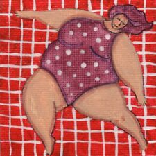 BBW Dancer original painting on tiny canvas 3x3 mixed media outsider art