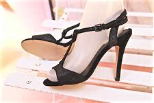 graziosi scarpe con cinturino grigio con paillettes 100 mm RMK taglia 37
