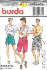 UNCUT vintage BURDA 4321 mens sewing pattern 44-56 shorts golf sports pockets