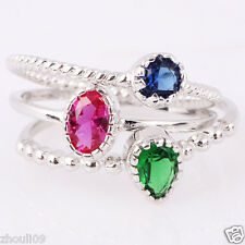 3.2CT size 7 Ruby Emerald & Sapphire 925 Silver Gold Filled Engagement Ring