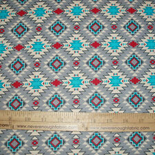 Cotton Fabric Native American Spirit Motif Argyle on Gray Indian   BTY